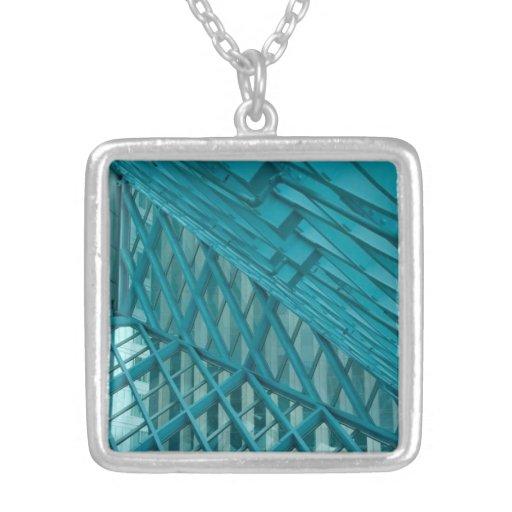 Geométrico azul colgante cuadrado