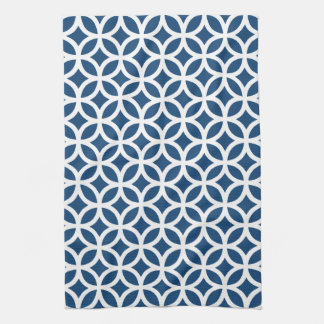 Geométrico azul de Mónaco Toallas De Mano