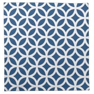 Geométrico azul de Mónaco Servilleta Imprimida