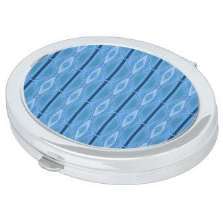 Geométrico azul elegante con la raya espejo de viaje
