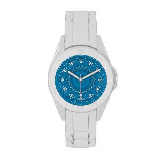 Geométrico azul y blanco bonito relojes de mano