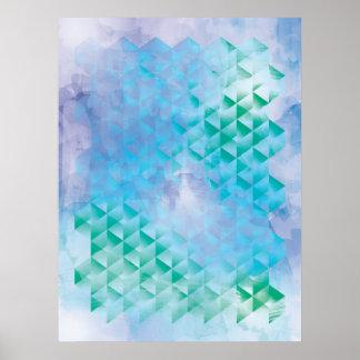 Geométrico azul y verde póster