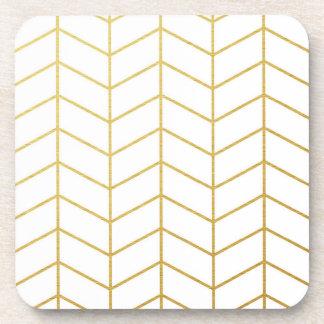 Geométrico blanco de la hoja de oro del modelo de posavasos