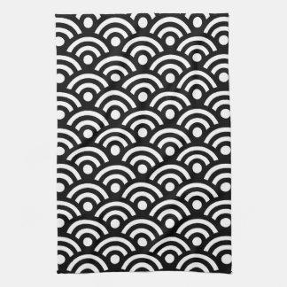 Geométrico blanco y negro toallas