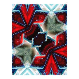 Geométrico cristalino rojo y azul plantilla de membrete