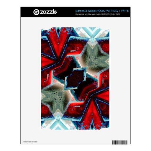 Geométrico cristalino rojo y azul calcomanías para NOOK