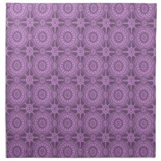 Geométrico floral púrpura del vintage servilleta imprimida