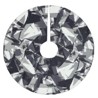 Geométrico gris y blanco negro dentado moderno falda para arbol de navidad de poliéster
