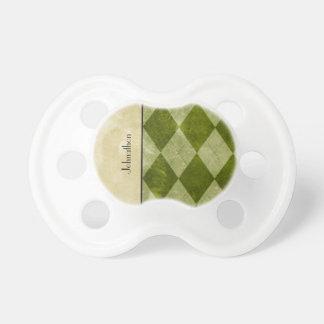 Geométrico masculino clásico verde de muy buen gus chupete de bebé