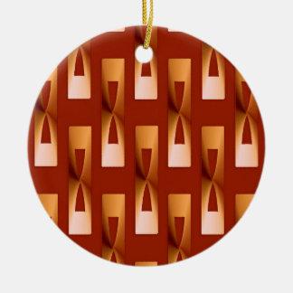 Geométrico metálico del art déco - cobre y moho adorno navideño redondo de cerámica
