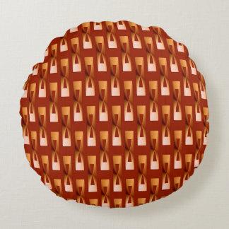 Geométrico metálico del art déco - cobre y moho cojín redondo
