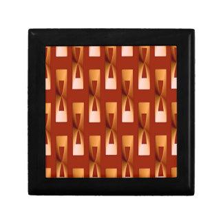 Geométrico metálico del art déco - cobre y moho joyero cuadrado pequeño