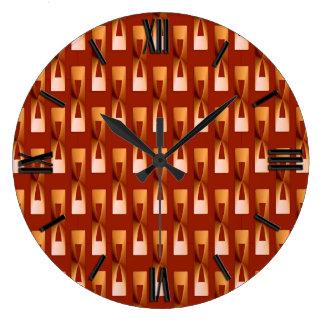 Geométrico metálico del art déco - cobre y moho reloj redondo grande