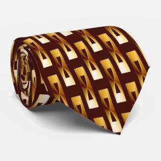 Geométrico metálico del art déco - oro y chocolate corbatas