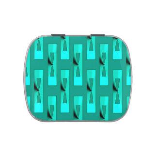 Geométrico metálico del art déco - pavo real y latas de caramelos