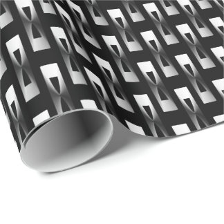 Geométrico metálico del art déco - plata y negro papel de regalo
