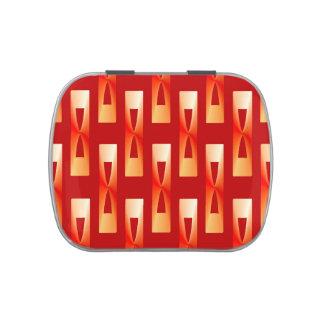 Geométrico metálico del art déco - rojo y coral latas de dulces