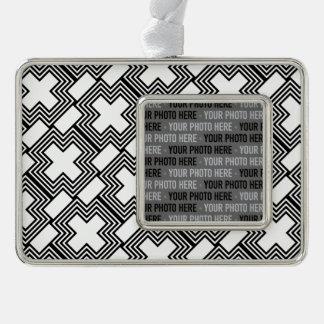 Geométrico minimalista cruzado blanco y negro adornos con foto