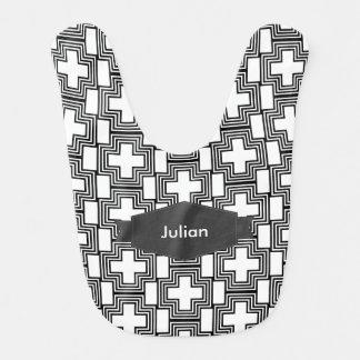 Geométrico minimalista cruzado blanco y negro baberos