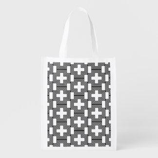 Geométrico minimalista cruzado blanco y negro bolsa de la compra