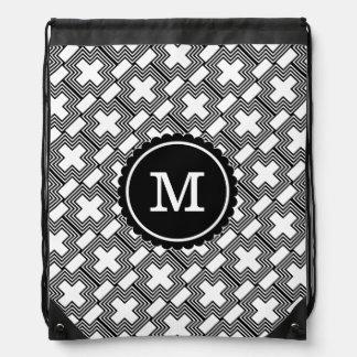 Geométrico minimalista cruzado blanco y negro mochila