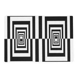 Geométrico moderno blanco y negro de Minimalistic Salvamanteles