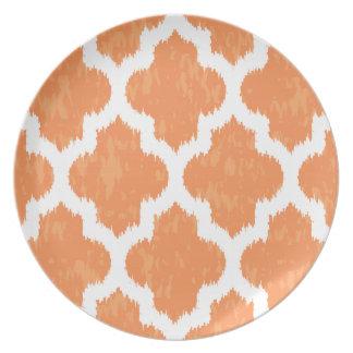 Geométrico moderno clásico anaranjado de Ikat Platos Para Fiestas