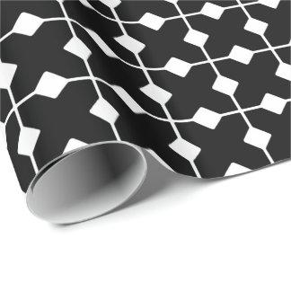 Geométrico moderno, diamantes - blancos y negros papel de regalo