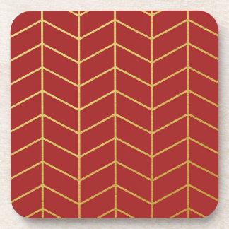 Geométrico rojo de la hoja de oro del modelo de la posavasos de bebidas