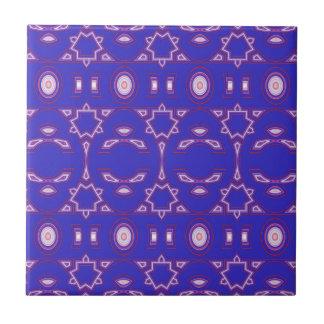 Geométrico rosado de la baya y blanco azul azulejo cuadrado pequeño