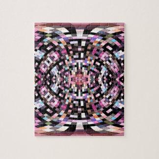 Geométrico rosado y negro Trippy Puzzle
