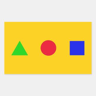 geométrico - triángulo, círculo y cuadrado pegatina rectangular