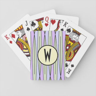Geométricos retros palidecen - verde y lavanda - cartas de póquer