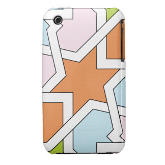 Geometry 12 of drawing up of tile blue orange and Case-Mate iPhone 3 case