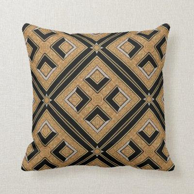 Geometry Art Deco Black Gold Cushion Pillow