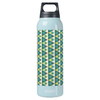 Geometry blue & green triangles insulated water bottle