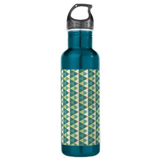 Geometry blue & green triangles water bottle