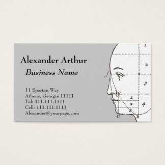 Geometry of the Human Head Antique Print Business Card