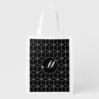 Geometry Pattern and Monogram Grocery Bag