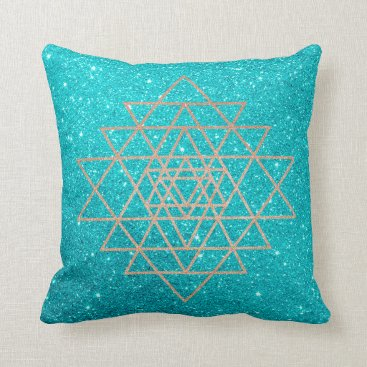 McTiffany Tiffany Aqua Geometry Peach Pink Rose Gold Ocean Aqua Glitter Throw Pillow