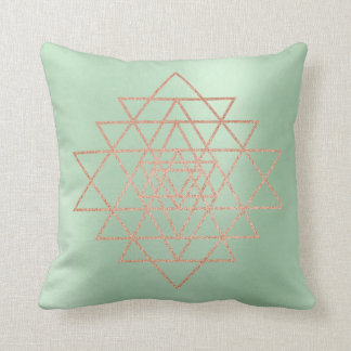Geometry Peach Pink Rose Gold Triangles Greenery Throw Pillow
