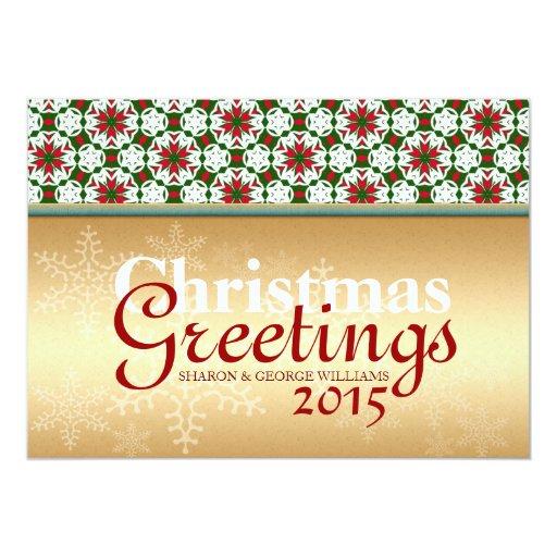 Geometry Star Snowflake Golden Christmas Holidays Card