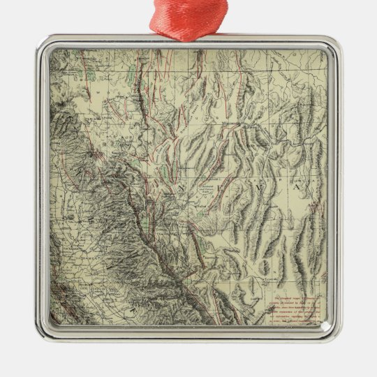 Geomorphic map, California, Nevada Metal Ornament