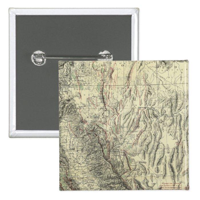 Geomorphic map, California, Nevada Pinback Button