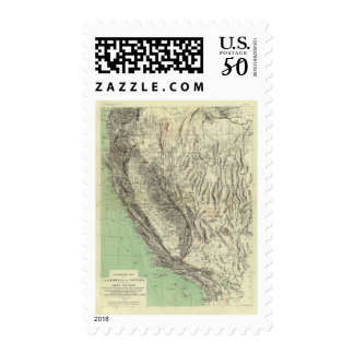 Geomorphic map, California, Nevada Postage