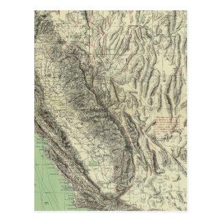 Geomorphic map, California, Nevada Postcards
