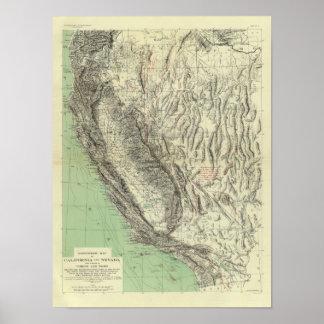Geomorphic map, California, Nevada Posters