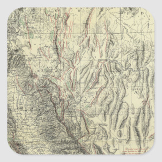 Geomorphic map, California, Nevada Square Sticker