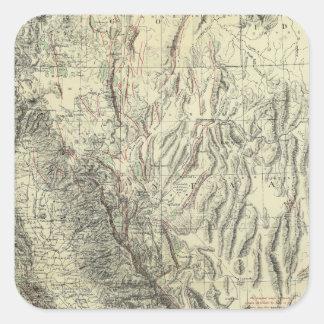 Geomorphic map, California, Nevada Square Sticker