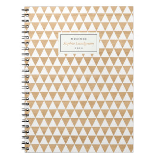 Geomtric Pattern on Wood Personalized Notebook
